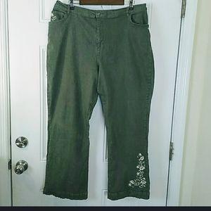Denim & Co.  Elastic back waist bootcut jeans